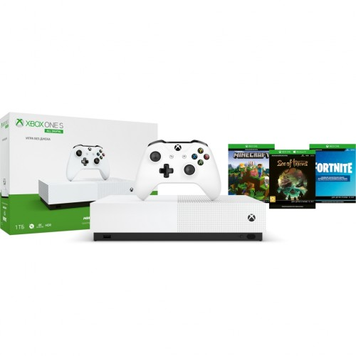 Xbox One S 1ТБ All Digital + Sea of Thieves + Minecraft + Fortnite (Комплект)
